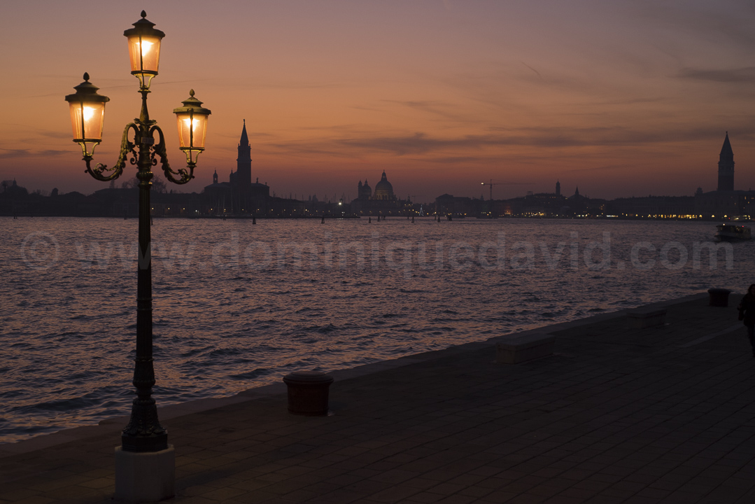 Italy - Venice - San Marco Basin at dusk, from Giardini Pubblici - Photo by Dominique David
