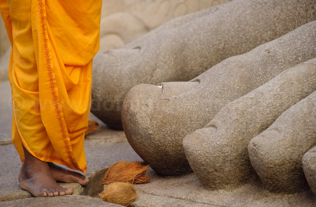 Sravanabelagola (India) - Offerings to the Jain saint Gomata - Photo by Dominique David